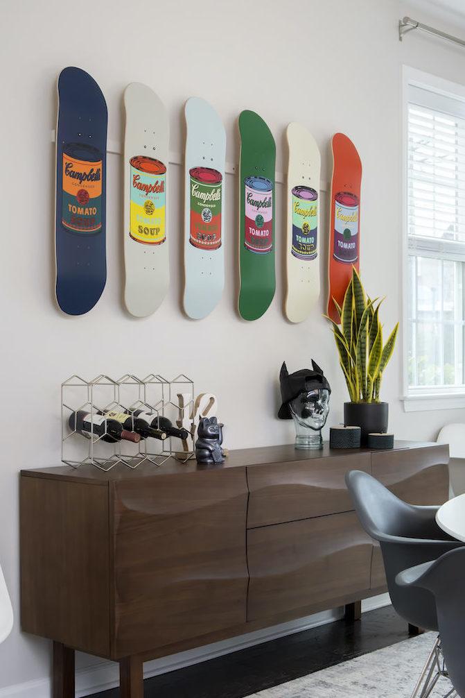 skateboard-wall-art-dining-room-sideboard-table